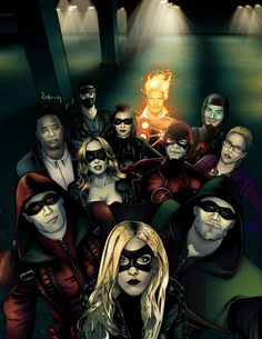Arrow and Flash team fanart by Eric Chung