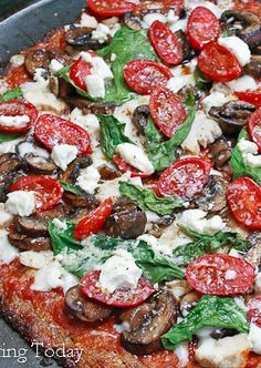 Basil, Tomato, Goat Cheese Pizza with Cauliflower Mozzarella Crust! Great Gluten Free option and healthy pizza to eat! | savoring today