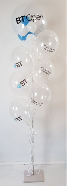 "A combination of vinyl printing for the larger deco bubble and silk screen printing onto these 11"" latex balloons"