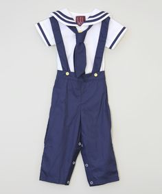 Another great find on #zulily! Blue & White Sailor Top & Overalls - Infant & Toddler by Lil Cactus #zulilyfinds