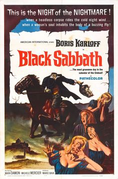 Black Sabbath movie poster (1963). A famous band got their name from this movie. Prior to that they were called Earth.