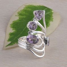 AMETHYST CUT 925 SOLID STERLING SILVER ANTIQUE RING 6.47g DJR2340 S-8 #Handmade #Ring