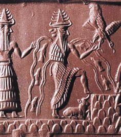 """Богиня Инанна-Иштар, перейдя на сторону Ану, способствует тому, что луна попала в плен и освободилась лишь благодаря вмешательству бога Энки-Эйи. Символом Ану была так называемая """"рогатая тиара"""", чьи изображения сохранились на древних вавилонских пограничных камнях кудурру"""
