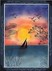 I need to stamp: sailboot sunset scenery