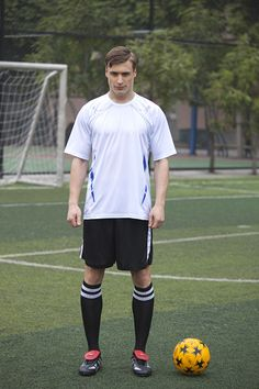 Jingjishen #3158 men's soccer uniform, white jersey with black shorts