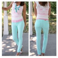 "• Mint Jeggings • These skinny mint Jeggings pair perfect with any tunic or sweater. Ultra comfy and stretchy. 95% cotton, 5% spandex. Measurement: Waist flat across: S=12"", M=13"", L=14"", XL=15"". Hips: S=16"", M=17"", L=18"", XL=19.   Runs a size small, please go one size up! Model is wearing a M. Inseam 31"".   ONLY SIZES CURRENTLY AVAILABLE ARE ALREADY SHOWN.   ↓Follow me on Instagram ↓         @ love.jen.marie Jennifer's Chic Boutique Pants Skinny"