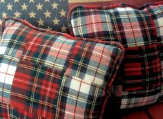 Pieces of old  plaids made into pillows!