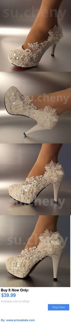 Wedding Shoes And Bridal Shoes: 3 4 Heel White Ivory Lace Crystal Pearls Wedding Shoes Pumps Bride Size 5-11 BUY IT NOW ONLY: $39.99 #priceabateWeddingShoesAndBridalShoes OR #priceabate