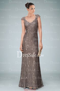 Rosy Brown Evening Gown Featuring Shiny Sequins with Sweep Train