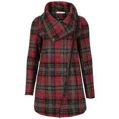 Plaid Asymmetric Zip Coat Rickis