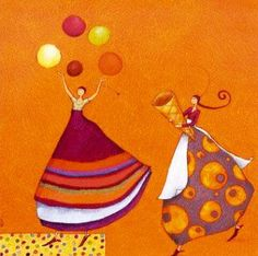 Gaëlle Boissonnard - Happy Paintings, Beautiful Paintings, Marie Cardouat, Art Carte, Illustration Art, Illustrations, Naive Art, Whimsical Art, Fabric Painting