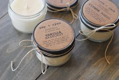 72 eco-friendly wedding favors, handmade soy candles with personalized labels. $342.00, via Etsy.