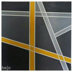 Acrylic painting 1m×1m geometric yellow