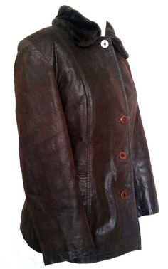 Women's Genuine Leather Jacket detachable Faux Fur Collar Size XL #Joy #BasicJacket #Leather #eBay #Fashion