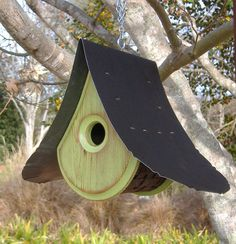Bird House SPRING GREEN Birdhouses with a view by MikeMerrittArt