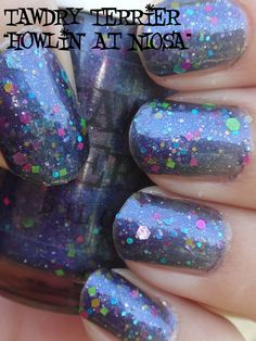 "Tawdry Terrier ""Howlin' at NIOSA"" #nails #nailart #blue #polish - bellashoot.com"