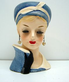 Vintage 1960 Lady Headvase Napco C5036C Blue Head Vase | eBay