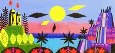 Mary Blair - concept art for Small World, Easter Island
