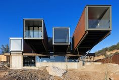 Creative mastermind Sebastian Irarrazaval Architects put together this contemporary Chilean residence, with a main focus on prefabrication. This Caterpillar Residence was built with prefab parts in mind; based off of shipping containers. Multiple modules sit hillside, with portions residing at angles and slopes that would otherwise have been leveled or built around.