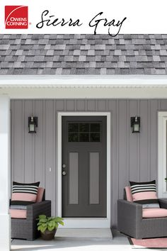 Composed of black and white, a roof shingle color like Sierra Gray makes for a solid, gentile home exterior. For added curb appeal, try paring Sierra Gray with rose-tone colors to convey a sense of White Exterior Houses, Grey Exterior, Exterior Paint Colors For House, Paint Colors For Home, Exterior Colors, Roof Shingle Colors, Roof Colors, Owens Corning Shingles, Dark Grey Houses