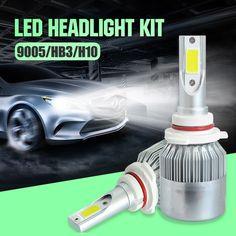 Costway 9005 LED Headlight Bulb Car COB Chips 7600lm 6000K Cool White Conversion Kit