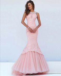 2017 New Lovely Beaded Crystal Long String Of Pearls Tulle Skirt Mermaid Lace Prom Dresses Scalloped Neck Vestidos De Formatura