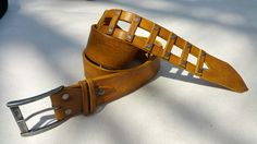 Piece by peace leather belt in mustard color