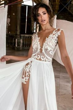 Sexy Deep V Neck Beach Wedding Dresses Side High Slit Lace Appliqued Illusion Bodice Sweep Train Bohomian Wedding Bridal Gowns is part of Bohemian wedding dress lace Condition Brand New Custo - Sexy Wedding Dresses, Bridal Dresses, Lace Wedding, Bridesmaid Gowns, Wedding Dress Beach, Dresses Dresses, Sexy Reception Dress, Beach Gowns, Slit Wedding Dress