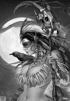 Women of Fantasy Native Art, Native American Indians, Aztec Warrior, Desenho Tattoo, Chicano Art, Fantasy Girl, Indian Art, Dark Art, Female Art