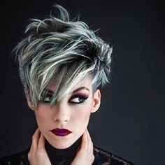 Love this look! used No Ammonia Lightener + + olaplex, toned with (shaved area). The top: heavy foil + balayage w Short Grey Hair, Short Hair Cuts, Superkurzer Pixie, Pixie Hair, Short Pixie, Frosted Hair, Silver Grey Hair, Silver Ombre, Black Hair