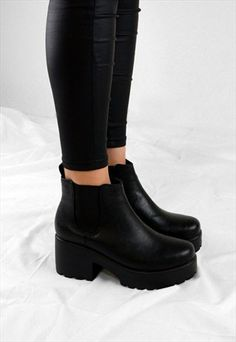 Buy & sell new, pre-owned & vintage fashion Chelsea Ankle Boots, Black Ankle Boots, Knee High Boots, Heeled Boots, Shoe Boots, Platform Ankle Boots, Cute Shoes, Me Too Shoes, Fishing Shoes
