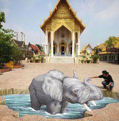 Remko van Schaik, 3D chalk art elephant at Wat That Thong temple in Bangkok. March 9, 2013.