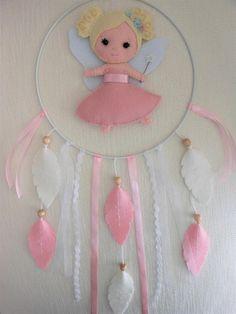 Mobile bébé Attrape-rêves Fée blonde feutrine Décoration
