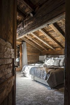 The ideal escapade for me and you, in our dreams. Let's make it out here in this bed and later drink coffee together. -- Rustic bedroom