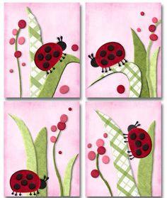 Red and Pink Ladybug Bedding Prints Ladybug Room, Ladybug Nursery, Pink Ladybug, Ladybug Art, Nursery Bedding, Nursery Art, Girl Nursery, Art Lessons, Art Decor