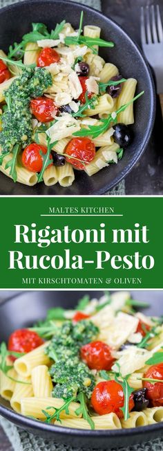 Rigatoni mit Rucola-Pesto, Kirschtomaten & Oliven | #Rezept von malteskitchen.de