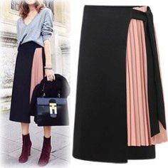 Yibaka 2017 European and American style temperament chiffon stitching high waist open women skirt fashion A-line long skirt Pleated Skirt, Dress Skirt, Mini Skirt, Chiffon Skirt, Hijab Fashion, Fashion Dresses, Fashion 2017, Fashion Brands, Fashion Women