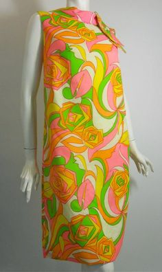 mod rose print in neon colors