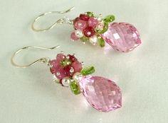 Earrings, Pink Topaz, Pink Sapphire, Ruby, Pearl,Silver
