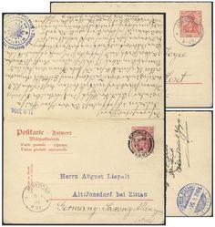 Germany, German Empire, Deutsches Reich 1902, 10 Pfg.-GA-Doppelkarte, von Jonsdorf/Sachsen nach Bromley-Kent/GB, von dort nach Sachsen zurückgeleitet (Mi.-Nr.P68). Price Estimate (8/2016): 20 EUR. Unsold.