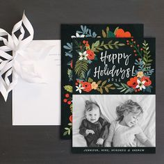 Holiday florals holiday photo cards featuring winter floral garland, your favorite family photo, and personalized holiday greeting. Wedding Stationery, Wedding Invitations, Christmas Photo Cards, Cool Patterns, Bold Colors, Save The Date, Florals, Fun, Floral
