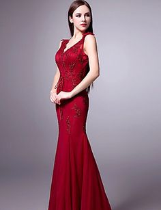 Formal Evening Dress Trumpet/Mermaid V-neck Floor-length Tulle Dress – CAD $ 250.19