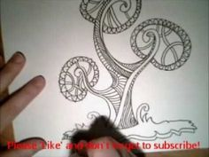 Stylised Tree Drawing in Ink - YouTube