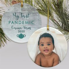 Give the new parents a fun way to remember the wild times of their baby's first pandemic with a fun personalized photo ornament #babysfirstchristmas #personalizedornaments #babyornaments #2020ChristmasOrnaments #COVIDornaments Photo Christmas Ornaments, Baby First Christmas Ornament, Baby Ornaments, Babies First Christmas, Creative Christmas Gifts, Family Christmas Gifts, Gifts For Family, Personalized Photo Ornaments, Gifts For New Parents