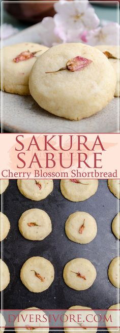 Sakura Sabure - Cherry Blossom Shortbread Cookies made with preserved sakura. Includes instructions for making your own preserved sakura, or for using store-bought. New Year's Desserts, Easy Gluten Free Desserts, Strawberry Desserts, Delicious Desserts, Cheesecake Oreo, Cheesecake Recipes, Cheesecake Strawberries, Pavlova, Cupcakes