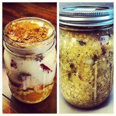 Overnight oats... Another great use for a mason jar. Fill it with a healthy cereal concoction at night and take it to work or school for breakfast in the morning