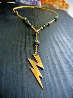 Sha-Zam! Lightning Bolt Rosary Necklace
