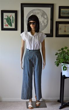 Vintage Handmade Wide Leg Plaid Pants -- High Waisted -- Corduroy -- 1970s by HandsomePeteShop on Etsy