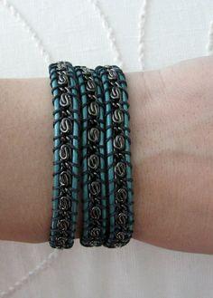 Gunmetal Chain Leather Wrap Bracelet