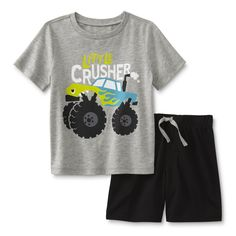 WonderKids Infant & Toddler Boy's Graphic T-Shirt & Shorts - Monster Truck Cute Boy Outfits, Toddler Boy Outfits, Kids Outfits, Infant Toddler, Toddler Boys, Kids Boys, Kids Fashion, Babies Fashion, Justice Clothing